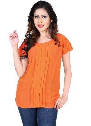 Party Wear Orange Georgette Plain Top
