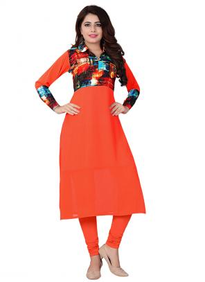 Party Wear Orange Georgette Printed Work Kurti