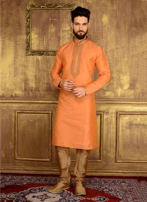 Party Wear Peach Banarasi Silk Embroidery Work Kurta Pajama