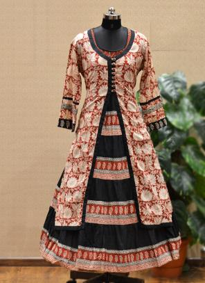 Party Wear Peach Cotton Printed Work Kurti