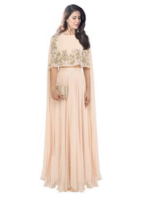 Party Wear Peach Georgette Sequins Work Dheeru And Nitika Designer Crop Top With Lehenga Skirt