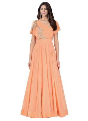 Party Wear Peach Georgette Star Sequens Work Aashan Behl Designer Gown