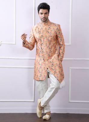 Party Wear Peach Silk Printed Work Kurta Pajama
