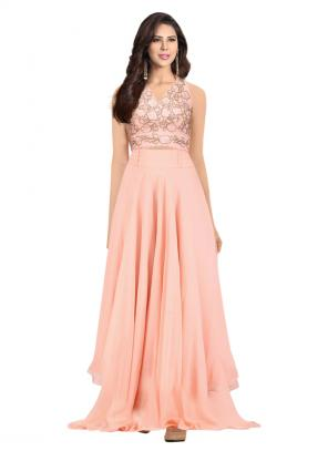 Party Wear Pink Georgette Sequins Work Amrit Kaur Halter Blouse With Plazzo
