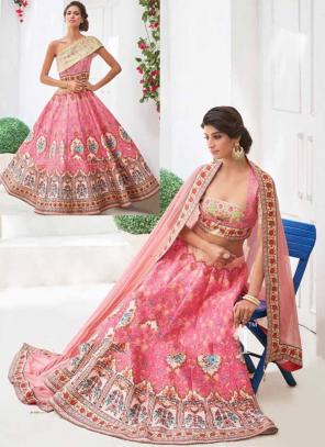 Party Wear Pink Silk Embroidered Work Lehenga Choli
