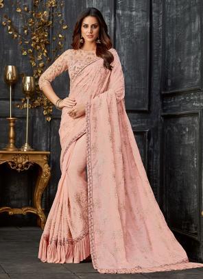 Party Wear Pink Tissue Sequins Work Saree