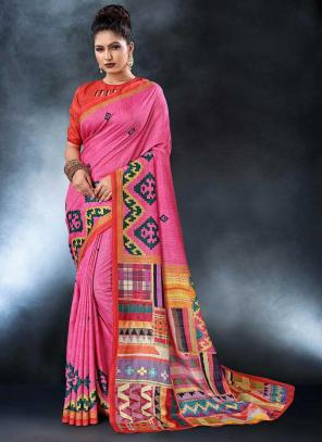 Party Wear Pink Tussar Silk Digital Print Saree