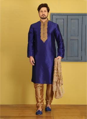 Party Wear Purple Art Silk Embroidery Work Sherwani Style