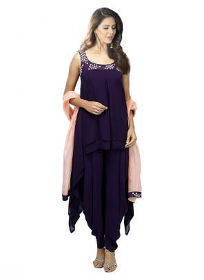 Party Wear Purple Georgette Embroidery Work Designer Dhoti Salwar Suit