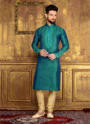 Party Wear Rama Banarasi Silk Embroidery Work Kurta Pajama