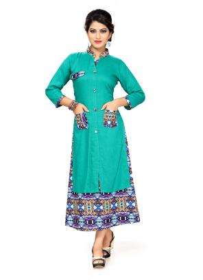 Party Wear Rama Rayon Printed Work Kurti