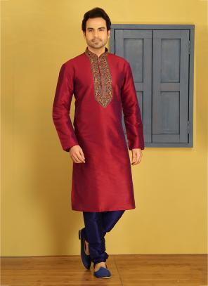 Party Wear Red And Blue Art Silk Embroidery Work Sherwani