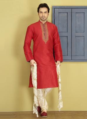 Party Wear Red And Beige Art Silk Embroidery Work Sherwani