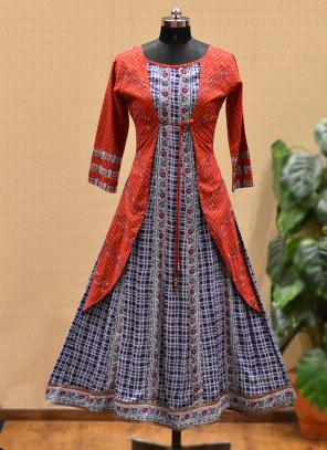 Party Wear Red Cotton Printed Work Kurti