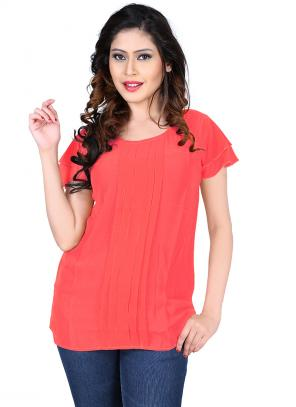 Party Wear Red Georgette Plain Top