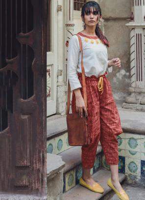 Party Wear Red Khadi Patch Work Western Top