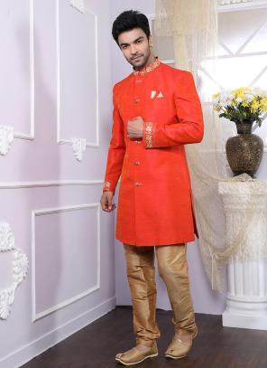 Party Wear Red Silk Printed Work Kurta Pajama