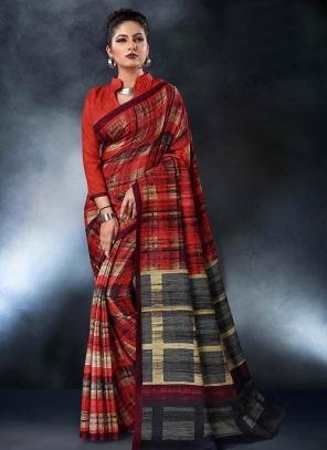 Party Wear Red Tussar Silk Digital Print Saree