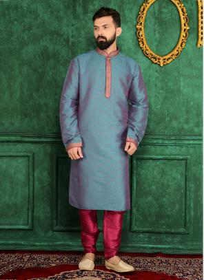 Party Wear Sky Blue Jacqaurd Silk Embroidery Work Kurta Pajama