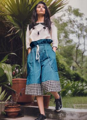 Party Wear Sky Blue Khadi Silk Printed Work Top