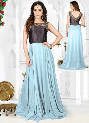 Party Wear Sky Blue Lycra Hand Work Salwar Kameez