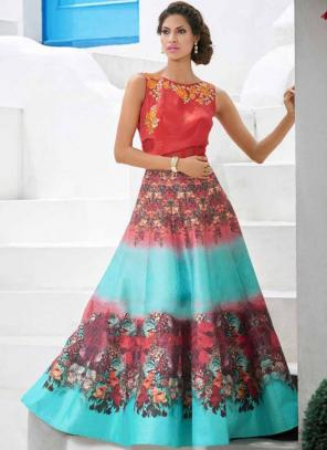 Party Wear Sky Blue Silk Embroidered Work Lehenga Choli