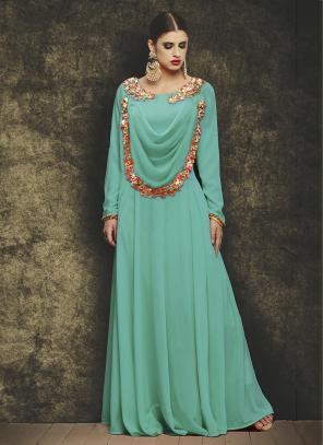 Party Wear Teal Georgette Embroidery Work Gown