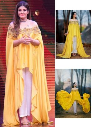 Party Wear Yellow Cotton Satin Cut Work Ravina Tondon Designer Cape Top
