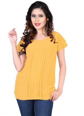 Party Wear Yellow Georgette Plain Top