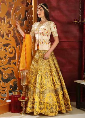 Party Wear Yellow Jacquard Silk Sequins Work Lehenga Choli
