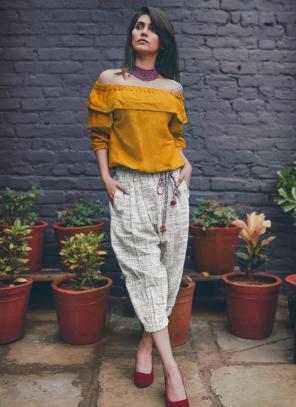 Party Wear Yellow Khadi Silk Printed Work Top
