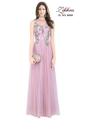 Party Wear Pink Net Embroidered Work Gown