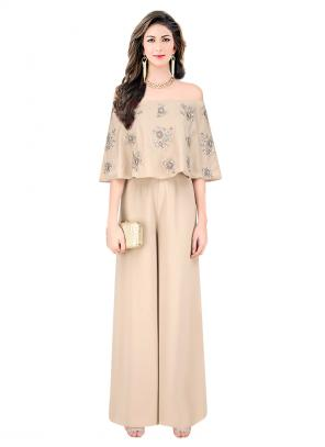 Reception Wear Beige Satin Embroidery Work Designer Jumpsuit