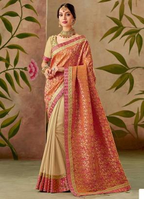 Reception Wear Beige Silk Thread Work Saree