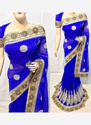 Reception Wear Blue Georgette Heavy Embroidery Work Saree