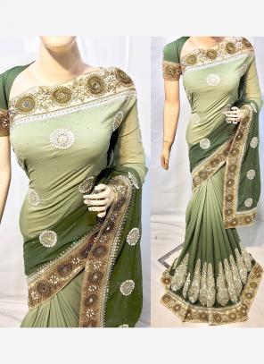 Reception Wear Green Georgette Heavy Embroidery Work Saree