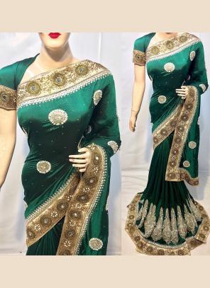 Reception Wear Silk Green Heavy Embroidery Work Saree