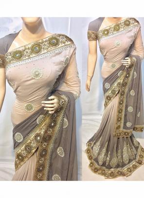 Reception Wear Grey Silk Heavy Embroidery Work Saree