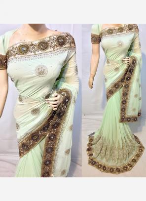 Reception Wear Light Green Georgette Heavy Embroidery Work Saree