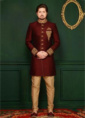 Reception Wear Maroon Banarasi Silk Embroidery Work Sherwani Style