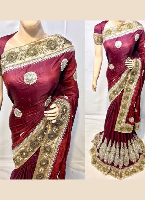 Reception Wear Maroon Silk Heavy Embroidery Work Saree