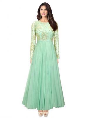 Reception Wear Mint Green Net Cutdana Work Designer Anarkali Suit