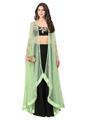 Reception Wear Mint Green Net Embroidery Work Prathyusha Garimella Designer Crop Top