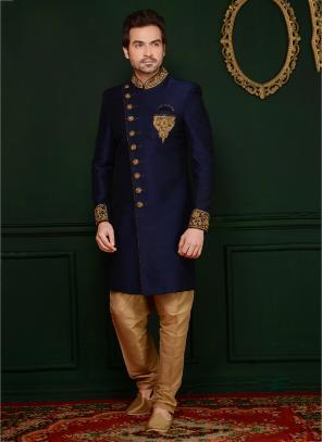 Reception Wear Neavy Blue Banarasi Silk Embroidery Work Sherwani Style