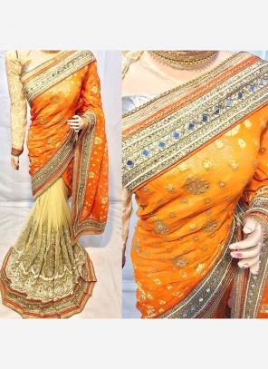 Reception Wear Orange Net Heavy Embroidery Work Saree