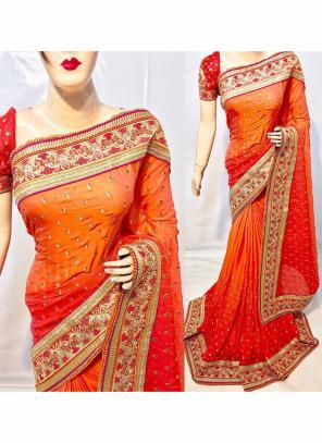 Reception Wear Orange Silk Heavy Embroidery Work Saree