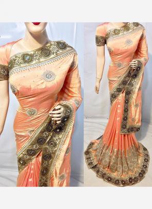 Reception Wear Peach Silk Heavy Embroidery Work Saree