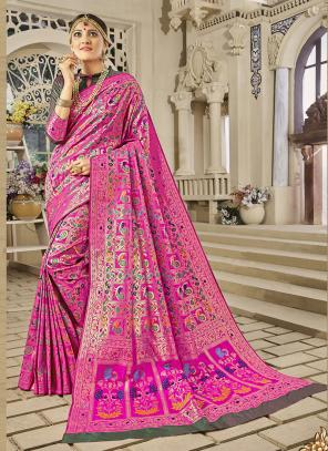 Reception Wear Pink Banarasi Silk Zari Work Saree