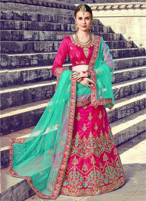 Reception Wear Rani Silk Heavy Multi Embroidery Work Lehenga Choli