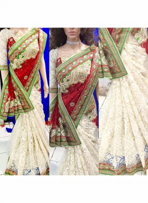 Reception Wear Red Brasso Heavy Embroidery Work Saree